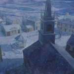 Illustration of a cityscape at winter, by PJ Lynch