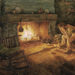 Illustration of character resting beside the fire, by PJ Lynch