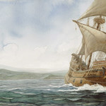 Mayflower leaving Plymouth illustration by PJ Lynch