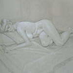 Daniella Life drawing Black wax stubby and white chalk for website